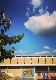 The sky above the mural's new home