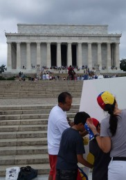 Painting underneath the Lincoln Memorial