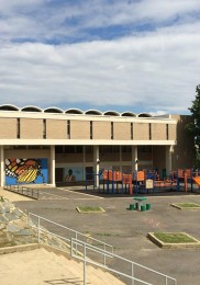The completed mural installed at a DC school