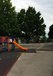 The playground and the mural's new home