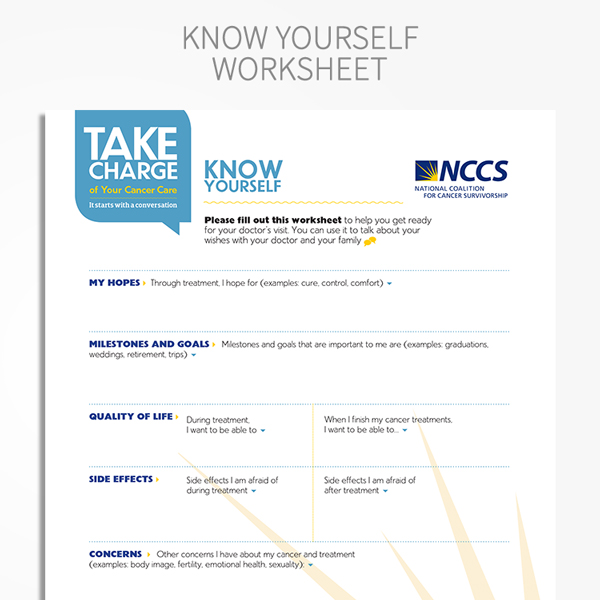 Take Charge Toolkit wEssential Questions NCCS Store – Cancer Worksheet