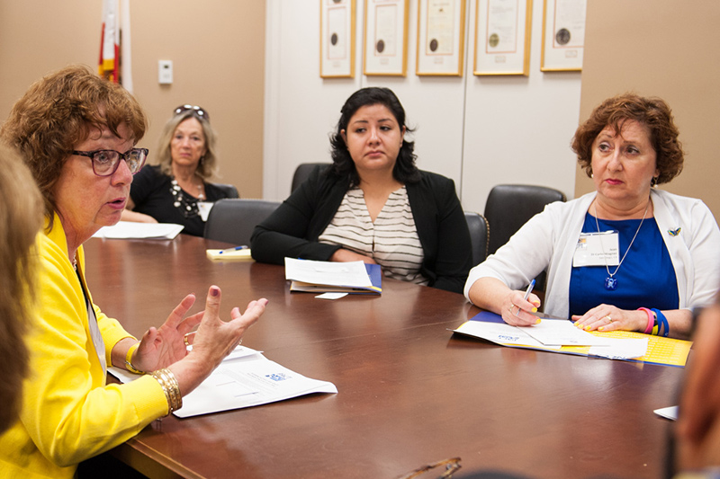 Gabriela listens during a meeting in Sen. Diane Feinstein's office.