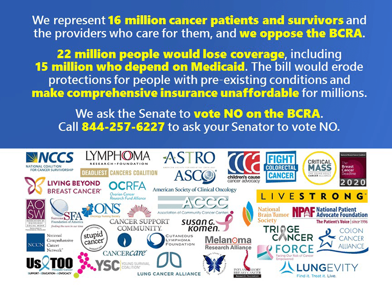 34 Cancer-Related Patient and Professional Organizations Jointly Oppose the Senate's BCRA