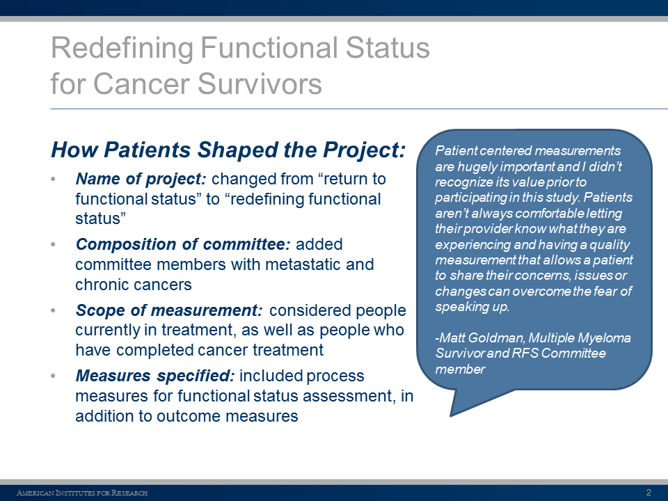 RFS How Patients Shaped the Project